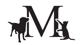 a logo featuring a dog and cat in front of an M